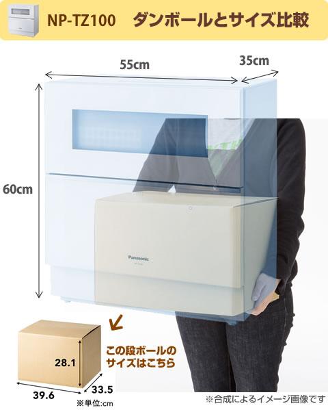 卓上(据え置き)食洗機とダンボールの大きさ比較イメージ