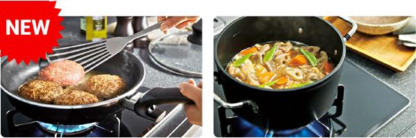 """コンロに""""焼サポート""""と""""煮るオート""""の新調理機能"""