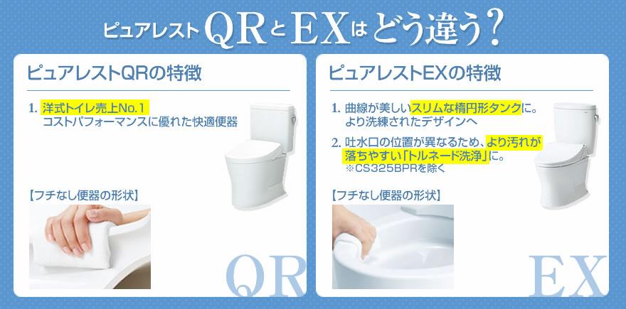 ピュアレストQRとピュアレストEX