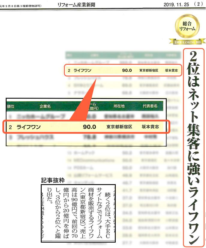 リフォーム産業新聞(2019/11/25発行)総合リフォームランキングにて当社が2位で掲載されました。